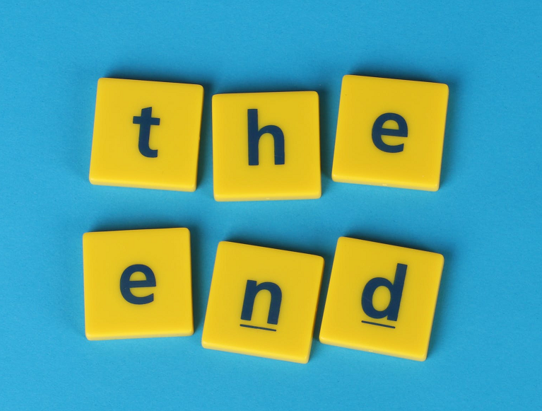 """""""The end"""" spelled out in Scrabble tiles 