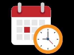 Calendar with clock